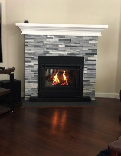 stacked stone fireplace custom built