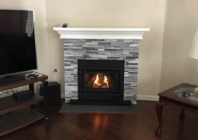 Custom Grey Brick Fireplace
