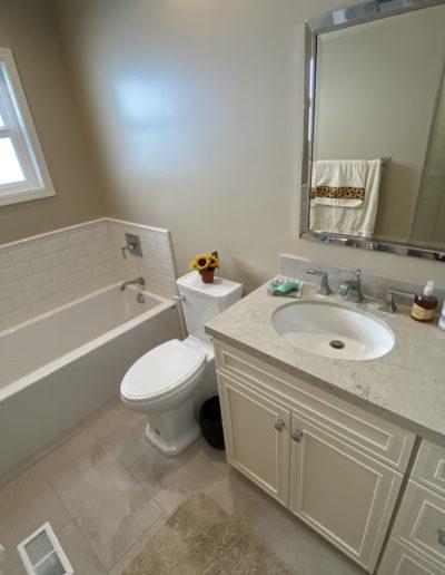 New vanity and bathtub in remodel