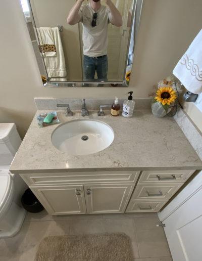 vanity in bathroom remodel